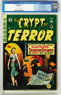 Crypt of Terror #17 Gaines File pedigree 2/10 (EC, 1950) CGC NM+ 9.6 Off-white to white pages. This book is currently si...