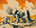 Bob Kline (signing as R. Kline) - Triceratops Dinosaur Illustration Original Art, Seller: Heritage Auctions, Price $At Auction