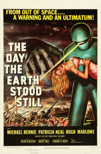 "The Day the Earth Stood Still (20th Century Fox, 1951). Autographed One Sheet (27"" X 41"")"