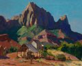 Fine Art - Painting, American:Modern  (1900 1949)  , FRANZ A. BISCHOFF (Austrian/American, 1864-1929). The Watchman,Zion National Park, Utah, circa 1925. Oil on canvas. 24 ...