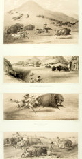 Books:Prints & Leaves, Group of Four Lithographic Plates Depicting Scenes of BuffaloHunting from Catlin's North American Indian Portfolio. ...