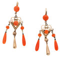 Estate Jewelry:Earrings, Coral, Seed Pearl, Gold Earrings. ...
