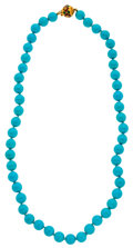 Estate Jewelry:Necklaces, Turquoise, Enamel, Gold Necklace. ...