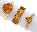 Estate Jewelry:Rings, Lot of Citrine, Diamond, Gold Rings. ... (Total: 3 Items)
