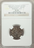 France: Carolingians. Charles the Bald (843-77) Immobilized-Type Denier ND XF40 NGC
