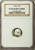 Proof Roosevelt Dimes: , 1964 10C PR69 Ultra Cameo NGC. NGC Census: (189/0). PCGS Population(297/2). Numismedia Wsl. Price for problem free NGC/PC...