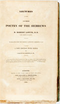 Books:Religion & Theology, Lowth, Robert and Calvin Stowe: LECTURES ON THE SACRED POETRY OF THE HEBREWS BY ROBERT LOWTH, D. D. LORD BISHOP OF LONDON. TR...