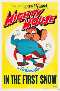 """Mighty Mouse (20th Century Fox, 1947). Stock One Sheet (27"""" X 41"""") """"In the First Snow."""" Animation..."""