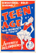"""Movie Posters:Exploitation, Teen Age (Continental, 1944). One Sheet (27"""" X 41"""").. ..."""