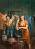 Pulp, Pulp-like, Digests, and Paperback Art, RUDY NAPPI (American, b. 1923). Farmer's Woman, paperback digestcover, 1954. Oil on board. 25 x 18 in. (sight). Not sig...(Total: 2 Items)