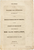 Books:Americana & American History, [Anti-Slavery] [Charles Jas. Faulkner]. The Speech of CharlesJas. Faulkner, in the Delegates of Virginia, on the Policy...