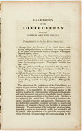 Books:Americana & American History, [Anti-Slavery] [Creek Indians]. Examination of the Controversybetween Georgia and the Creeks. First published in t...