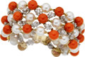 Estate Jewelry:Bracelets, Hammerman Bros. Diamond, Cultured Pearl, Coral, Gold Bracelet. ...