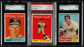 Baseball Cards:Lots, 1958 & 1961 Topps HoFers Graded Trio (3). ...