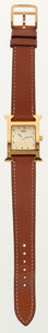 Luxury Accessories:Accessories, Hermes Classic Brushed Gold H-Hour Watch with Gold CourchevelLeather Strap. ...