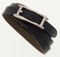 Luxury Accessories:Accessories, Hermes Black Vache Leather Hapi 3 GM Bracelet with PalladiumHardware. ...