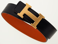 Hermes 80cm Black Swift Leather & Orange H Clemence Leather Reversible H Belt with Brushed Gold Hardware