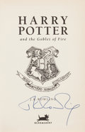 Books:Children's Books, J. K. Rowling. Harry Potter and the Goblet of Fire. London:Bloomsbury, 2000. First edition, boldly signed by the ...