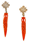 Estate Jewelry:Earrings, Coral, Base Metal Earrings. ...