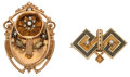 Estate Jewelry:Brooches - Pins, Cultured Pearl, Seed Pearl, Enamel, Gold Brooches. ... (Total: 2 Items)