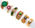 Estate Jewelry:Rings, Lot of Multi-Stone, Gold Rings. ... (Total: 6 Items)