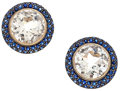 Estate Jewelry:Earrings, White Topaz, Sapphire, White Gold Earrings, Eli Frei. ...