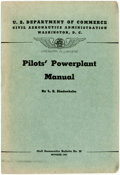 Books:Americana & American History, L.E. Shedenhelm. Pilots' Powerplant Manual. U.S. GovernmentPrinting Office, 1940. Octavo. 392 pages. Original wrapp...