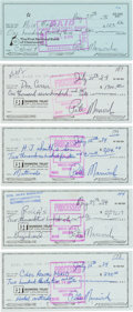 Basketball Collectibles:Others, 1976-84 Pete Maravich Signed Checks Lot of 5. ...