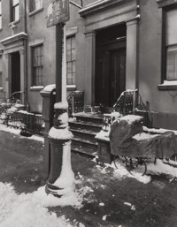 BERENICE ABBOTT (American, 1898-1991) Baby Carriage in the Snow, circa 1940 Early gelatin silver