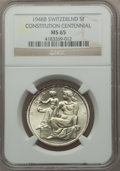 Switzerland:Helvetic Confederation, Switzerland: Confederation 5 Francs 1948-B Swiss Constitution MS65NGC,...