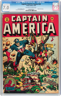 Captain America Comics #33 (Timely, 1943) CGC FN/VF 7.0 Off-white to white pages