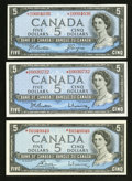 Canadian Currency: , Modified Portrait 1954 $5 Asterisk Notes Three Examples.. ...(Total: 3 notes)