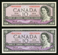Canadian Currency: , Modified Portrait 1954 $10 Asterisk Notes Two Examples.. ... (Total: 2 notes)