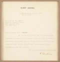 Autographs:Celebrities, Albert Einstein Typed Letter Signed...