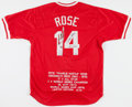 "Baseball Collectibles:Tickets, Pete Rose ""Hit King"" Signed Cincinnati Reds Jersey...."