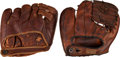Autographs:Others, 1930's-40's Joe DiMaggio Signed Glove & Vince DiMaggio UnsignedGlove Lot of 2....