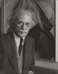 Photographs:Gelatin Silver, IMOGEN CUNNINGHAM (American, 1883-1976). Alfred Stieglitz at anAmerican Place, 1934. Gelatin silver . 9-3/4 x 7-3/4 inc...