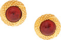 """Luxury Accessories:Accessories, Chanel Textured Gold & Red Gripoix Earrings. ExcellentCondition. 1.25"""" Width x 1.25"""" Length. ..."""