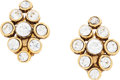 "Luxury Accessories:Accessories, Chanel Gold & Crystal Cluster Earrings. ExcellentCondition. 1"" Width x 1.25"" Length. ..."