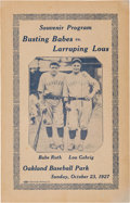 Baseball Collectibles:Programs, 1927 Babe Ruth & Lou Gehrig Barnstorming Program....
