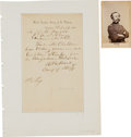 Autographs:Military Figures, General Randolph Marcy: One Autograph Letter Signed and One Carte de Visite....