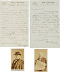 Autographs:Celebrities, Horace Greeley: Two Autograph Letters Signed and Two Cartes deVisite....