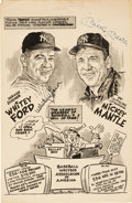 Autographs:Others, 1969-74 Mickey Mantle, Joe DiMaggio & Whitey Ford SignedOversized Cartoons Lot of 2....