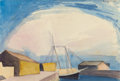 Works on Paper, GEORGE COPELAND AULT (American, 1891-1948). Sailboat (Lumber Schooner and Wharves) , 1922. Watercolor on paper. 7-1/4 x ...