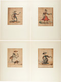 "Books:Prints & Leaves, [Hand-Colored Lithography]. [George Spratt]. Collection of Eleven""Personification"" Prints. Baltimore: J. N. Toy & W. R. Luc..."