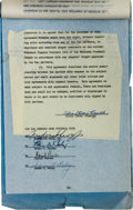 Football Collectibles:Others, 1957 Pete Rozelle & Dan Reeves Signed Los Angeles Rams General Manager Contract....