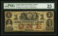 Canadian Currency: , Clifton, CW- Bank of Western Canada $1 Sep. 20, 1859 Ch. #795-10-04. ...