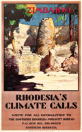 "Movie Posters:Miscellaneous, Zimbabwe Travel Poster (Southern Rhodesia Publicity Bureau, 1928).Poster (24.75"" X 39.75"") ""Rhodesia's Climate Calls."". ..."