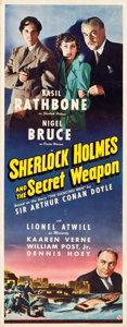 "Movie Posters:Crime, Sherlock Holmes and the Secret Weapon (Universal, 1942). Insert (14"" X 36"").. ..."