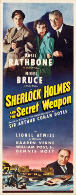 "Sherlock Holmes and the Secret Weapon (Universal, 1942). Insert (14"" X 36"")"